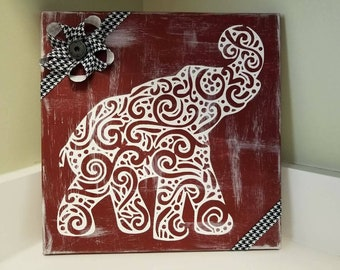 Crimson and White Swirl Elephant with Hounds tooth Ribbon