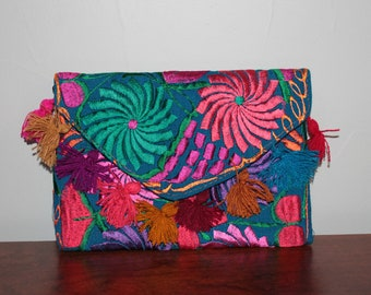 Handmade Mexican Embroidered Clutch Wallet
