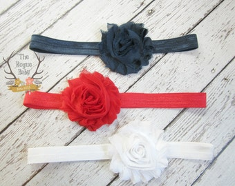 Headband Gift Set - 3 pieces - Soft Elastic Shabby Chiffon Rosette - Newborn Baby Infant- Photo Prop Set - Navy Blue Red White