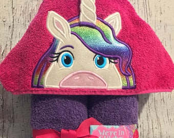 Unicorn hooded towel, Unicorn towel, Children's gift, pool towel, beach towel, bath towel, birthday gift, appliqued towel, appliqued gift
