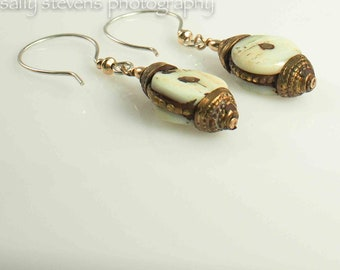Earrings of Vintage brass dangles with sterling and 14kt gold ear wires