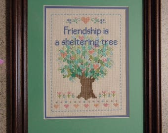 Friendship is a Sheltering Tree - Large Inspirational Cross Stitch Picture - Wall Decor