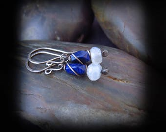 Moonstone and Lapis Lazuli Earrings - Wire Wrapped Silver Earrings - Hammered Silver Earrings - Handmade Earrings - Twilight Goddess Drops