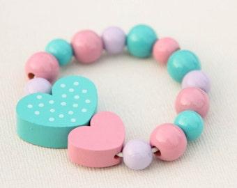 Beaded bracelet - kids bracelet - toddler bracelet - wooden bead bracelet - kids jewerly