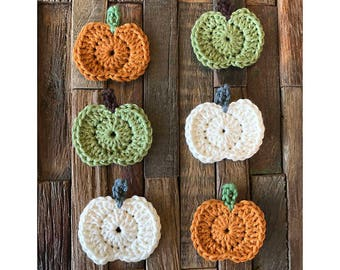 Crochet Pumpkin Appliques - Set of 6, Small Crochet Appliques, Fall, Autumn, Halloween, Fall Colors, Handmade Crochet Embellishments