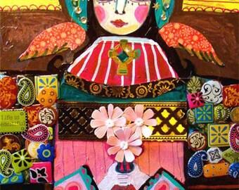 50% SALE- Mexican Folk Art - Virgin Of Guadalupe Art Angel  Art Print Poster by Heather Galler (HG653)