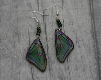 Luna Moth Earrings, Green Wing Illustration, Dangle Earrings