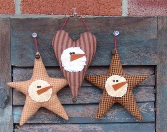 Primitive Ornament Pattern, Homespun Star and Heart Snowman Ornies Pattern, Christmas sewing pattern, HFTH131