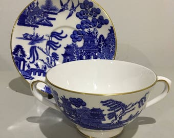 Coalport Bone China Two Handled Bowl and Saucer Blue and White Willow Pattern