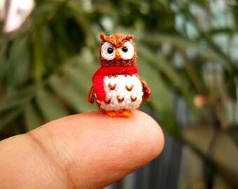 Brown Owl Red Scarf - Teeny Tiny Amigurumi Miniature Bird Stuffed Animal - Made To Order