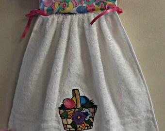 Hanging dress towel,hanging Easter towel,easter decor,kitchen decor,gift,hostess gift,Easter basket, Easter eggs,hanging towel