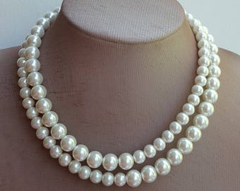 Two strand pearl bridal necklace with pave rhinestone clasp,wedding necklace,bridal choker,pave diamond necklace,ivory glass pearl necklace