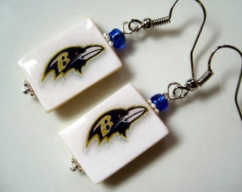 Baltimore Ravens. Pro Football. Bling Fanwear. Mother of Pearl Shell Earrings.Handmade.