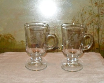 Pair of etched glass hot toddy glasses