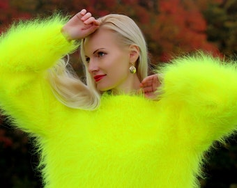 Made to order hand knitted mohair sweater in neon yellow by SuperTanya