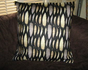 """METALLIC FEATHERS/LEAVES Black Pillow Cover 18"""" Andover fabric"""