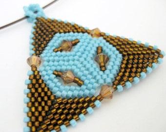 Peyote Triangle Pendant / Beaded Pendant in Topaz and Blue /  Seed Bead Pendant  / Geometric Pendant / Peyote Pendant / Peyote Necklace