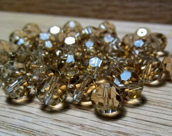 Smoky Faceted Crystal Glass Round Beads 7x8mm, 45ct.