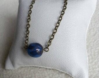 lapis lazuli stone bronze bead chain necklace