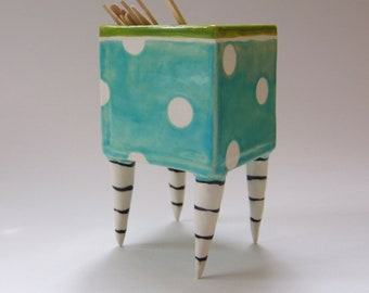 whimsical Pottery Dish :) Alice in Wonderland Lime & Turquoise green polka dots with striped Beetlejuice legs
