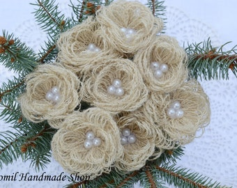 Burlap Flowers, Wedding Decoration, Ivory Burlap Looped Flowers with Stems, Home Decoration, SET OF 20