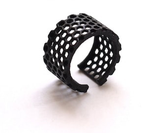 3d printed honeycomb black ring - Perforated Honeycomb Ring.   modern jewelry