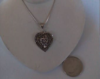 Vintage Sterling Silver 18 Inch Snake Chain With Frag Heart Charm