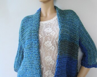 Crocheted Cardigans, Crochet Cardigan, Blue Cardigan, Crochet Cardigan, Lakeside Stripes, Mom Gift, Available in S/M, L/Xl and 1X/2X
