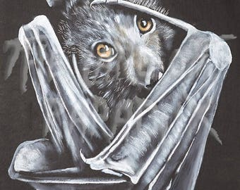 Baby bat painting print on HIGH QUALITY metal paper