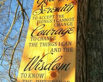 Serenity prayer sign, God grant me the serenity, Rustic Christian sign, Serenity prayer wood sign