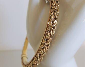 Vintage Gold Vermeil Bracelet Jewelry | 12K GF Bangle Bracelet | Sterling Deisgner Jewelry  | Italy Sterling Jewelry | Gift Jewelry