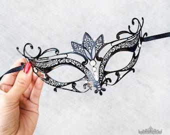 Masquerade Mask, Black Masquerade Mask,  Masquerade Ball Mask, Mask w/ Exquisite Rhinestones,  [Clear Rhinestones]