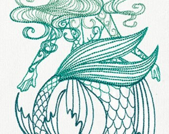 Maiden of the Ocean Mermaid Embroidered Flour Sack Hand/Dish Towel