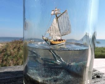 Kraken in a bottle, Sloop,  Ship in a bottle