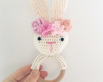 Rabbit rattle crochet baby flower Crown