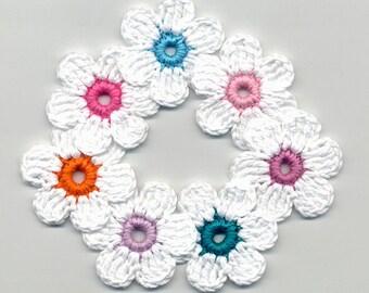 Crochet Flowers -  White Crochet Flowers - Crochet Applique - Crocheted Colored Flowers - Bright Flowers - Crochet Flowers 4cm 7 Pcs