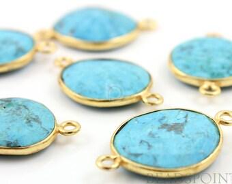 Natural TURQUOISE, Bezel  Turquoise Component, Gold Vermeil,  ,  10 - 14mm, 1 Piece, (BZC7105-SM)