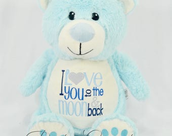 Personalized Teddy Bear, Embroidered Blue Teddy Bear, Birth Announcement, Birth Stat Animal, I Love You to the Moon and Back, Easter Gift