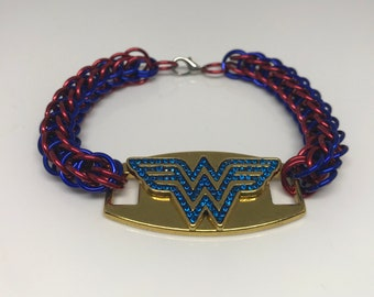 Wonder Woman Full Persian Chainmaille Red and Blue Bracelet