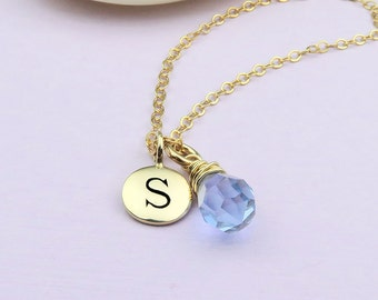 Personalized Birthstone Necklace in Gold, Initial Necklace wire wrapped birthstone briolette, 14k gold filled, custom birthstone,