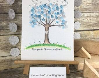 PRINTABLE I love you to the moon and back   fingerprint tree   gender neutral  nursery   gender reveal   over the moon   twinkle twinkle