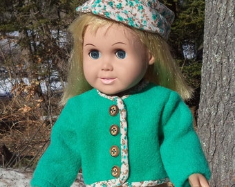 "18"" green doll jacket and matching hat, green Maine wool doll jacket, wooden button closure over snaps, rayon trimmed doll jacket"