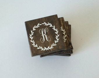 Monogram Coasters- Custom Coasters- Wood Coasters- Drink Coasters- Wooden Coasters-Gift for Her- gift for coworker- Gifts for Friends