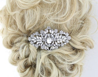 Crystal Bridal Barrette, Large Bridal Hair Clip, Rhinestone Barrette, Wedding Hair Accessory, Wedding Hair Clip, Statement Bridal Hairpiece