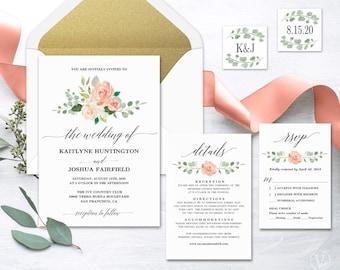 Peach Blush Floral Wedding  Invitation, Printable Wedding Invitation Template, Romantic Wedding Invitation, Editable Text, Peach Blush