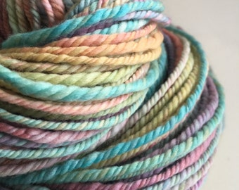 Handspun, Hand Dyed, 3ply chunky yarn.