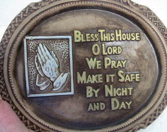 Vintage LEGO Ceramic Praying Hands hanging Plaque used . Bless This House