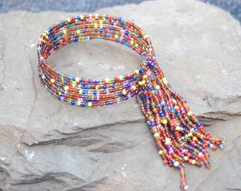 Gypsy Beaded Fringe End Cuff Bracelet