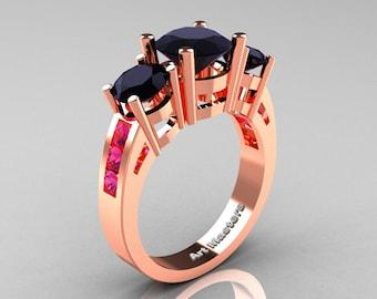 Modern 18K Rose Gold Three Stone Black Diamond Pink Sapphire Wedding Ring R94-18KRGPSBD