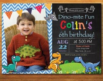 Dinosaur Birthday Invitation with custom photo. Dinosaur Theme Birthday Party Invitation. Boy Birthday Invite. Printable Digital.